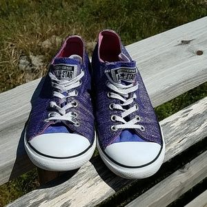 Converse sneakers purple with silver glitter